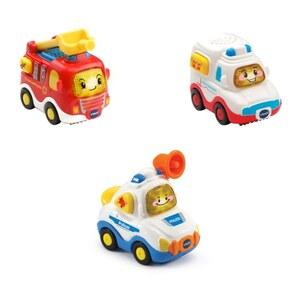 VTech - Tut Tut Baby Flitzer: 3er Set Einsatzfahrzeuge (Feuerwehrauto, Rettungswagen, Polizei)