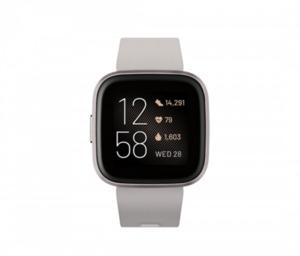 fitbit Smartwatch, Versa 2 (NFC) ,  integrierte Sprachsteuerung, stone/mistgrey (anthrazit)