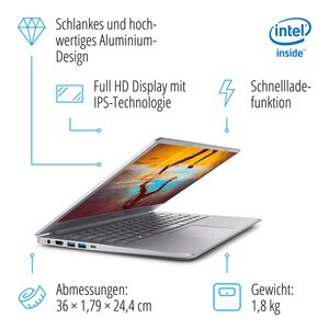 MEDION AKOYA® S6446, Intel® Core™ i3-8145U, Windows10Home, 39,5 cm (15,6'') FHD Display, 512 GB PCIe SSD, 8 GB RAM, Notebook