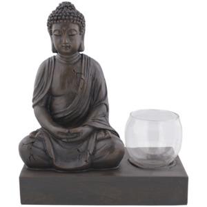 Buddha + Teelichthalter auf Platte