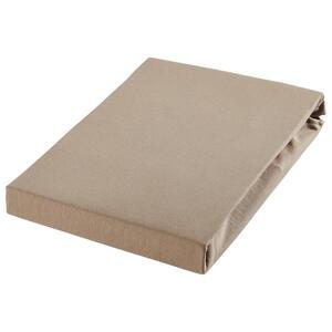 SPANNBETTTUCH Jersey Taupe bügelfrei, für Wasserbetten geeignet