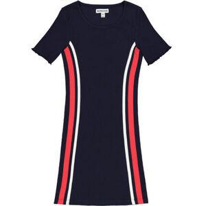 manguun Kleid, Wellsaum, Streifen, gerippt