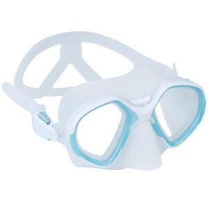 Tauchmaske Freediving FRD 500 Zweiglas reduziertes Volumen hellgrau