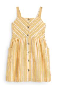Gelb gestreiftes Leinenkleid (kleine Mädchen)
