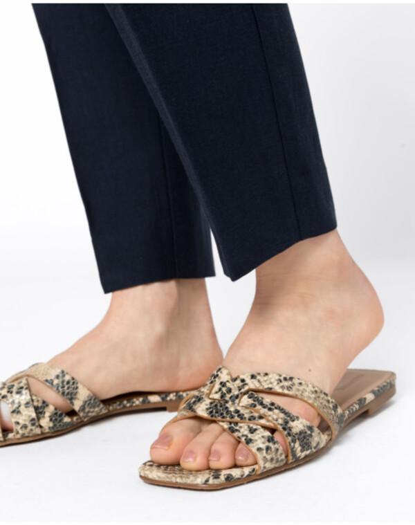 Hallhuber Lederpantoletten mit Schlangenprägung für Damen in beige