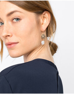 Hallhuber Ohrhänger mit echten Süßwasserperlen & Münzen für Damen Gr. One Size in gold