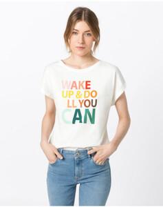 Hallhuber Oversize-Shirt mit Mottoprint in Regenbogenfarben für Damen in offwhite