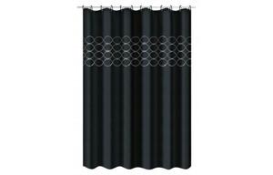 Duschvorhang Pailletten Applikation schwarz/silberfarbig 180 x 200 cm