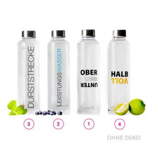 Trinkflasche Glas 700 ml mit Spruch in veschiedenen Varianten