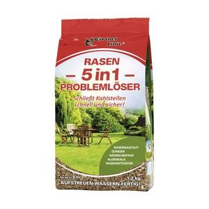 Rasen-Reparatur-Saat 5 in 1 1,2 kg, Rasensaatgut, Dünger, Nährsubstrat, Algenkalk, Rasenaktivator