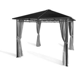 Grasekamp Hardtop Pavillon Meran 3x3m mit  Seitenteile Doppelstegplatten Hohlkammer  Polycarbonat