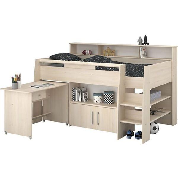 Parisot Hochbett Charly 2 mit integriertem  Schreibtisch