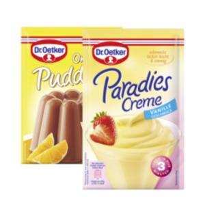 Dr. Oetker Paradiescreme oder Pudding Pulver Schoko, Feinherb