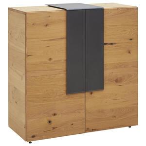 SCHUHSCHRANK Wildeiche furniert, mehrschichtige Massivholzplatte (Tischlerplatte) geölt Anthrazit, Eichefarben