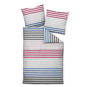 BETTWÄSCHE Makosatin Blau, Graphitfarben, Weiß, Pink 135/200 cm