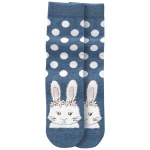 1 Paar Damen Socken mit Hasen-Motiv