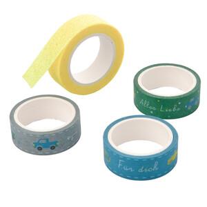 4 Rollen Washi-Tape in verschiedenen Dessins
