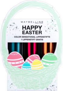 Maybelline New York Osterkörbchen Set (Color Sensational Lippenstifte 207 + 148 +  942)