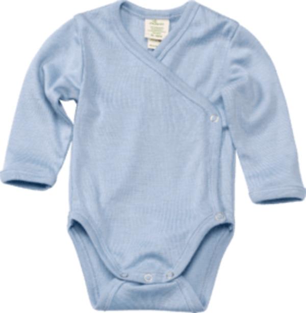 ALANA Baby Wickelbody, Gr. 50/56, in Bio-Wolle und Seide, blau, für Mädchen und Jungen