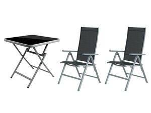 FLORABEST Alu-Balkonmöbel Set mit Klappsessel, 3-teilig, Grau
