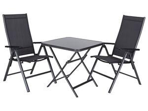 FLORABEST Alu-Balkonmöbel Set mit Klappsessel, 3-teilig, Schwarz