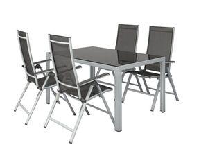 FLORABEST Set mit Standardtisch & Klappsessel, Aluminium, 5-teilig, grau