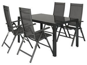 FLORABEST Alu-Gartenmöbelset mit Gartentisch & Klappsessel, 5-teilig, Schwarz