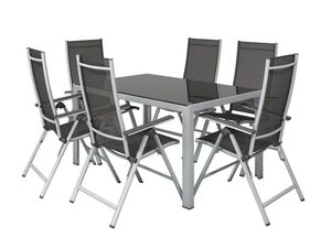 FLORABEST Alu-Gartenmöbelset mit Gartentisch & Klappsessel, 7-teilig, Grau