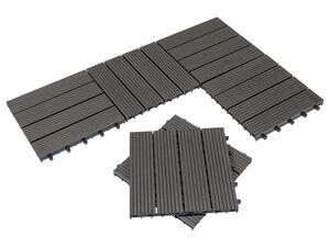 FLORABEST All-Wetter Fliesen, 6 Stück, geeignet für Feuchträume, aus Holz und Kunststoff