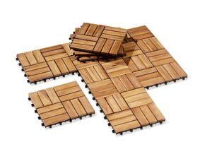 FLORABEST Holzfliesen, 10 Stück, mit Steckverbindungen, aus Akazienholz