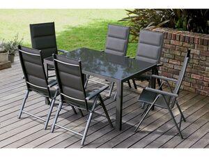 FLORABEST Alu-Gartenmöbelset mit Gartentisch & Klappsessel, 7-teilig, Premium, Anthrazit