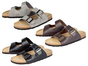 LIVERGY® Tieffußbett-Pantoletten Herren, anatomisch geformtes Fußbett, mit Leder