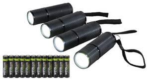 Taschenlampen mit rutschfester Gummierung inklusive Batterien - 4er Set