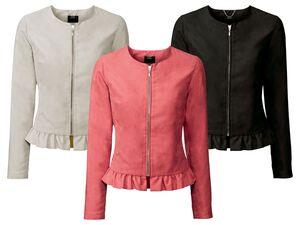 ESMARA®  Jacke Damen, in Velourslederoptik, seitliche Eingrifftaschen und Reißverschluss