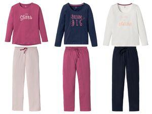 ESMARA® Pyjama Damen, 2-teilig, mit Rundhalsausschnitt und Print, aus reiner Biobaumwolle