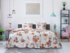 Dobnig Mako-Satin Bettwäsche »Blumen apricot«, Wendedesign, mit Reißverschluss