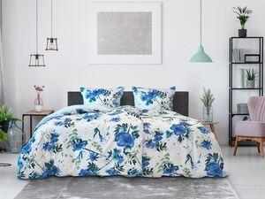 Dobnig Mako-Satin Bettwäsche »Blumen blau«, Wendedesign, mit Reißverschluss
