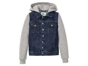 PEPPERTS® Jeansjacke Jungen, Kapuze und Ärmel aus Sweatstoff, hoher Baumwollanteil
