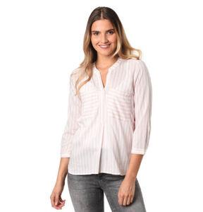 Tom Tailor Denim Hemdbluse, 3/4-Arm, Streifen, Split-Neck, Brusttaschen, für Damen