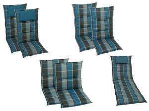 GO-DE Textil Gartenauflage Karo mit Kopfkissen