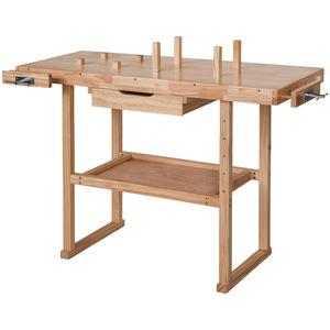 Holz Werkbank mit 2 Schraubstöcken 117 x 47,5 x 83 cm