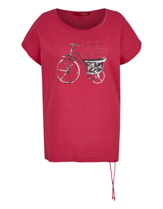 THEA - T-Shirt in Leinenoptik mit Pailletten, reine Baumwolle