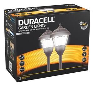 Duracell LED Niedervolt Gartenlampen 2er Set, braun matt