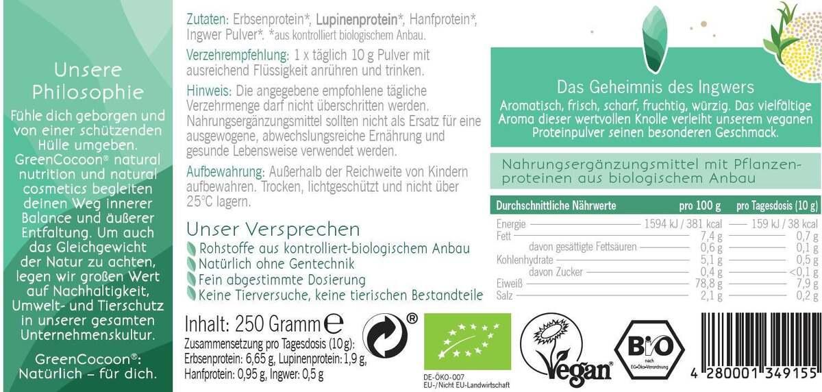 Bild 2 von GreenCocoon Bio vegan Protein Pulver Ingwer