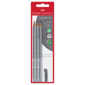 """Faber Castell Bleistift """"Grip 2001 B"""" 3 Stück mit Radierer"""