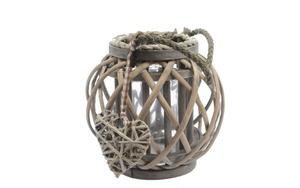 Kaemingk - Weidenlaterne mit Seilgriff in grau, 22 cm