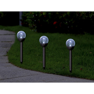 toom LED-Solarfackel 'Crackle' 3 Stück edelstahl