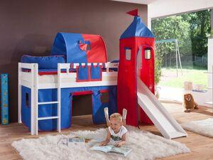 Relita Spielbett Hochbett Kinderbett ALEX mit Rutsche/Turm/Tunnel Buche massiv weiß lackiert mit Stoffset