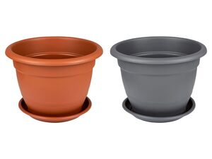 PARKSIDE® Pflanzgefäß Set, 2-teilig, rund, 45 cm Durchmesser, inklusive Untersetzer