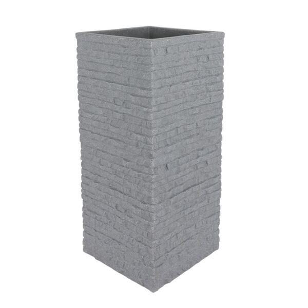 Kubus Ziegel-Säulentopf 26x26x60cm Grau